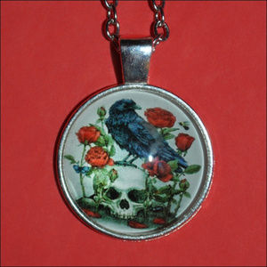 Jewelry - 🌹 Raven & Skull Dome Necklace 🌹